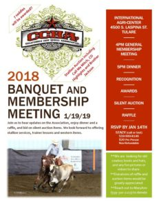 2018 CCHA Awards Banquet and General Membership Meeting @ Whitney Ranch Party Barn | Exeter | California | United States